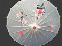 CHINESE JAPANESE SMALL WHITE FLORAL PARASOL WEDDING FANCY GIRL UMBRELLA PARTY
