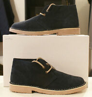 Size UK 4 - 12 Roamers lace up Real Suede Leather Mens desert boots Navy Blue