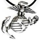 US MARINES Silver Pewter Pendant Leather NECKLACE