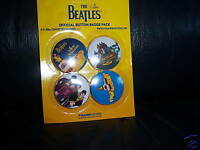 THE BEATLES BADGES PINS BRAND NEW ON CARD OFFICIAL APPLE CORPS YELLOW SUBMARINE