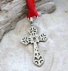 CHRISTIAN CROSS JESUS Pewter Christmas ORNAMENT Holiday