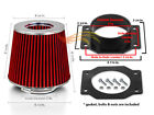 Mass Air Flow Intake Sensor MAF Adapter+RED Filter For 87-99 Maxima 3.0 V6