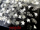 1 Nail Art Stickers Silver & White Flowers Decals VS