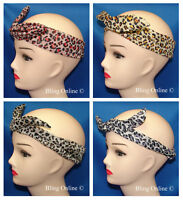 WIRED WIRE BENDY LEOPARD ANIMAL PRINT TWIST HEADWRAP HEAD BAND RETRO 50s STYLE