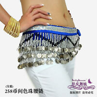 Belly Dance Hip Scarf Belt Costume Silver Coins 9 color