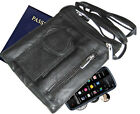 Black Cowhide Leather Passport Zip Credit Card Travel Phone Bag Pouch NWT