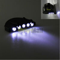 Clip-On 5 LED Head Lights Lamp Cap Hat Camping Torch w/Clip Hand Free New