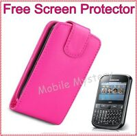 PINK FLIP CASE COVER POUCH FOR SAMSUNG GT-S3350 CHAT CH@T 335 + SCREEN PROTECTOR