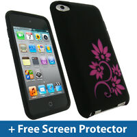 Black Flower Skin Case Cover for Apple iPod Touch 4G 4th Gen iTouch Silicone