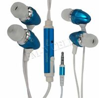 BLUE IN EAR HANDSFREE EARPHONES WITH MIC FOR BLACKBERRY CURVE 8520