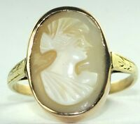 VICTORIAN ANTIQUE 14K ROSE & YELLOW GOLD SHELL CAMEO RING SIZE 8