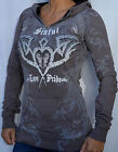 Sinful by Affliction NIGHTMARE Women's 2 Button Pullover Hood Sweatshirt - S1854