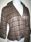 Coldwater Creek PS P S Metallic Brown Gold Threads Wrap Blouse Tie Top Plaid