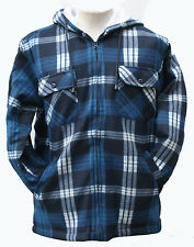 MENS HOODED FLEECES CHECK LUMBERJACK LINED JACKETS SMALL,M,L,XL blue and black