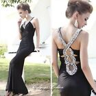 Sexy Ladies Evening Party Prom Formal Gown Wedding Bride Sparkle Dress S M 2085