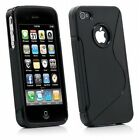 NEW STYLISH S LINE GRIP CASE COVER FITS IPHONE 4 4S + SCREEN PROTECTOR 4 colours