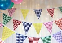Gingham bunting multi coloured, wedding, baby shower, party, 5 mt