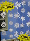 6 CHRISTMAS FROZEN SNOW FLAKE STRINGS EACH SNOWFLAKE STRING IS 7FT LONG