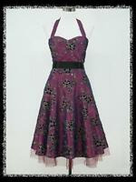dress190 PURPLE, BLACK & SILVER FLORAL HALTER ROCKABILLY COCKTAIL PARTY DRESS