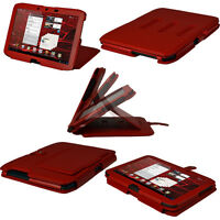 """Red Leather Case Cover for Motorola Xoom 2 Droid Xyboard 10.1"""" Android Tablet"""