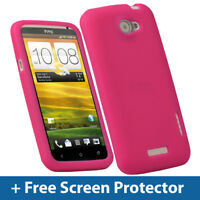 Pink Silicone Skin Case for HTC One X S720e Android Cover Holder Bumper Shell 1