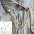 Chic Stud RIVET COLLAR TIP BROOCH Pin Chain Punk Gold / Silver New