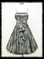 dress190 GREY 50s FLOCK TATTOO ROCKABILLY COCKTAIL VINTAGE PARTY PROM DRESS