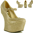 Ladies Womens Sexy High Heel Less Platform Glitter Party Prom Bridal Court Shoes