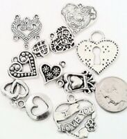 11 Antiqued Silver Plated Pewter Heart Drop Link Charm Mix *