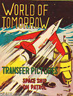 WORLD OF TOMORROW SPACESHIP VINTAGE MP & Co KIDS TRANSFER STICKERS STORE DISPLAY