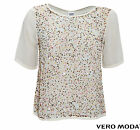 VERO MODA DAMEN BLUSE, SHIRT IXUS 2/4 TOP HC WALL AUG WHITE SWAN GR. XS,S,M,L,XL