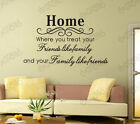 Home family friend Removable Wall Quote Art Decal Vinyl Sticker Mural Decor Au