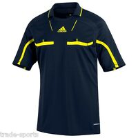 adidas MENS REFEREE JERSEY SIZE S M L XL BLACK/YELLOW FORMOTION LINESMAN S/S NEW