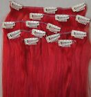 """22"""" Remy Human Hair Clip In Extension # Red 100g 17Pcs Straight Long thick hair"""