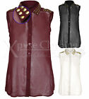 WOMEN LADIES SPIKE STUD COLLAR SHOULDER CHIFFON SLEEVELESS BLOUSE SHIRT VEST TOP