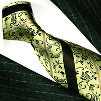 12043 LORENZO CANA Italian Silk Tie Gold Black Yellow Paisleys Stripes 100% Silk