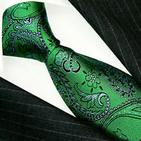 12047 LORENZO CANA Italian Silk Tie Green Paisley Gray 100% Silk Luxury Neck Tie