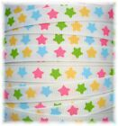 3/8 ITTY BITTY PASTEL STARS PINK BLUE YELLOW GROSGRAIN RIBBON 4 HAIRBOW BOW 5YD