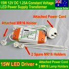 1x LED Driver 15W 12V LED Driver Transformer 12 V+Power Cord+3 MR16 Lamp Holders