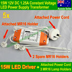 5x LED Driver 15W 12V LED Driver Transformer 12 V+Power Cord+3 MR16 Lamp Holders
