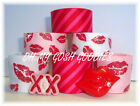 12Y+ GLITTER LIPS XO VALENTINE LOVE RED PINK GROSGRAIN RIBBON MIX 4 HAIRBOW BOW