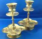 PAIR ANTIQUE VICTORIAN CANDLE STICKS HOLDERS, DECORATED BRASS W/ COLORED GLASS