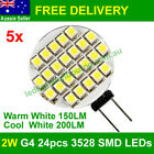 5x 2W G4 24pcs 3528 SMD LEDs Light Bulb Lamp warm white / cool white