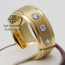 Tungsten Ring Wedding Band Comfort Fit 8MM Men's Luxury Gold Design Size 6 to 14