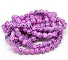 50 x 8mm Pink / Purple Mottled Round Glass Marble Effect Beads Beading T131