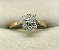 A Very Nice 9ct Gold Nine Stone Diamond Cluster Ring