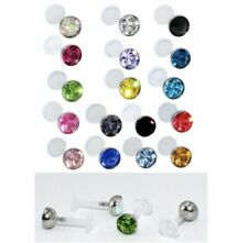 Crystal Bioflex PTFE Body Tiny 3mm Jewellery Labret Tragus Bar Lip Stud Monroe