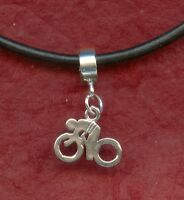 Bike Necklace 22inch Leather Solid Sterling silver Charm Pendant 925