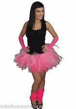 Neon Tutu Skirt 80's Fancy Dress Hen Party Costume Fun Run Ladies Kids Flo Pink