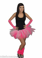 Neon Pink White Tutu Skirt Legwarmers Gloves Hen Party Fancy Dress 80's Party